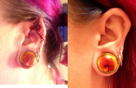left side comparison with matching earrings