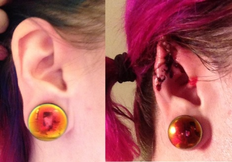 right side comparison with matching earrings